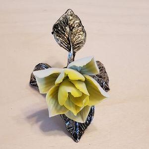 Ceramic Yellow Rose with Iron Base